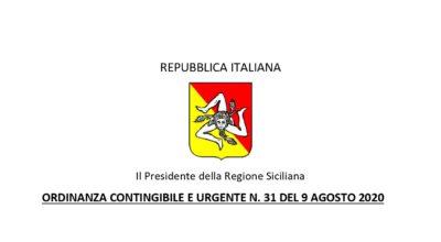 Regione Siciliana – Ordinanza Contingibile e Urgente n. 31 del 09 Agosto 2020