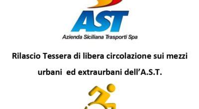 Avviso rilascio tessere di libera circolazione sui mezzi urbani ed extraurbani dell'A.S.T. per soggetti diversamente abili (art. 21 L.R. 68/81)
