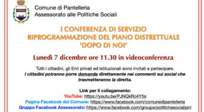I CONFERENZA DI SERVIZIO RIPROGRAMMAZIONE DEL PIANO DISTRETTUALE 'DOPO DI NOI'