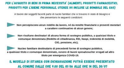 Buoni spesa/Voucher per l'emergenza socio-assistenziale da Covid-19 per l'acquisto di beni di prima necessità